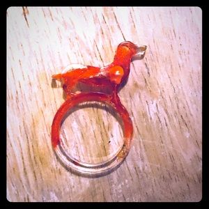 Red and gold dachshund resin ring